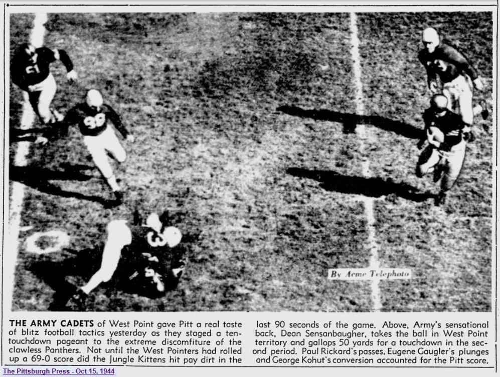 ArmyFB_1944_vsPitt_DeanSensanbaugher_PittsburghPress_Oct151944