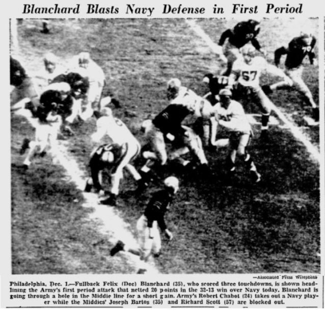 ArmyFB_1945_vsNavy-Blanchard_YoungstownVindicator_Dec11945