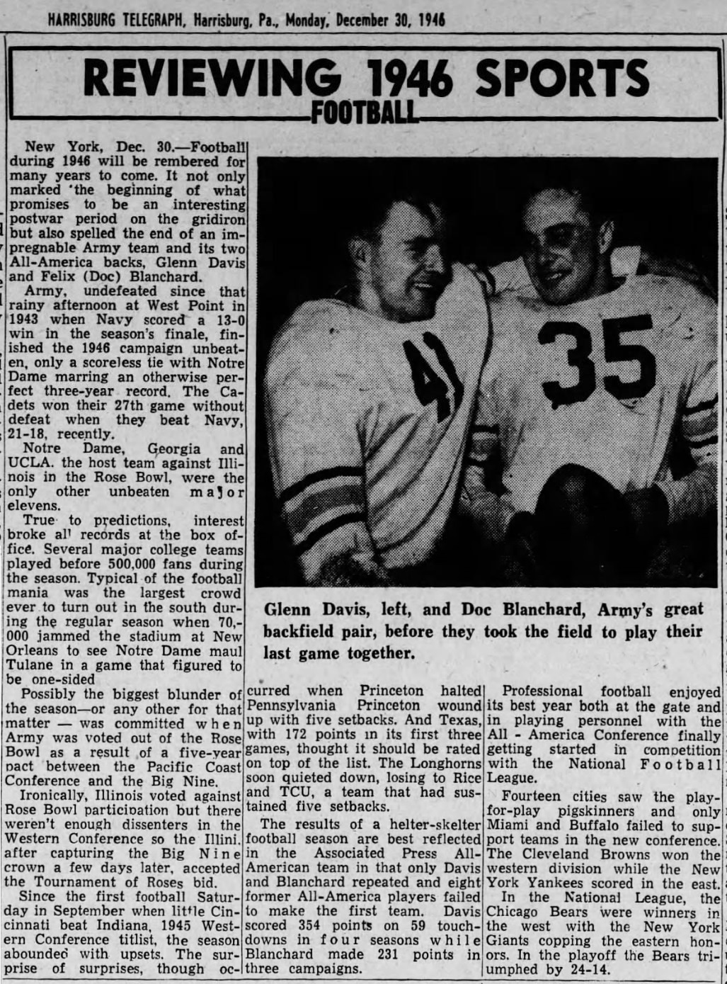 ArmyFB_1946_Review_Blanchard-Davis-pic_HarrisburgTelegraphPA_Dec301946