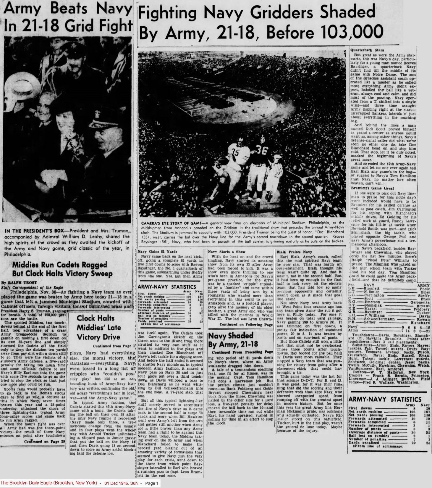 ArmyFB_1946_vsNavy_BrooklynDailyEagle_Dec11946