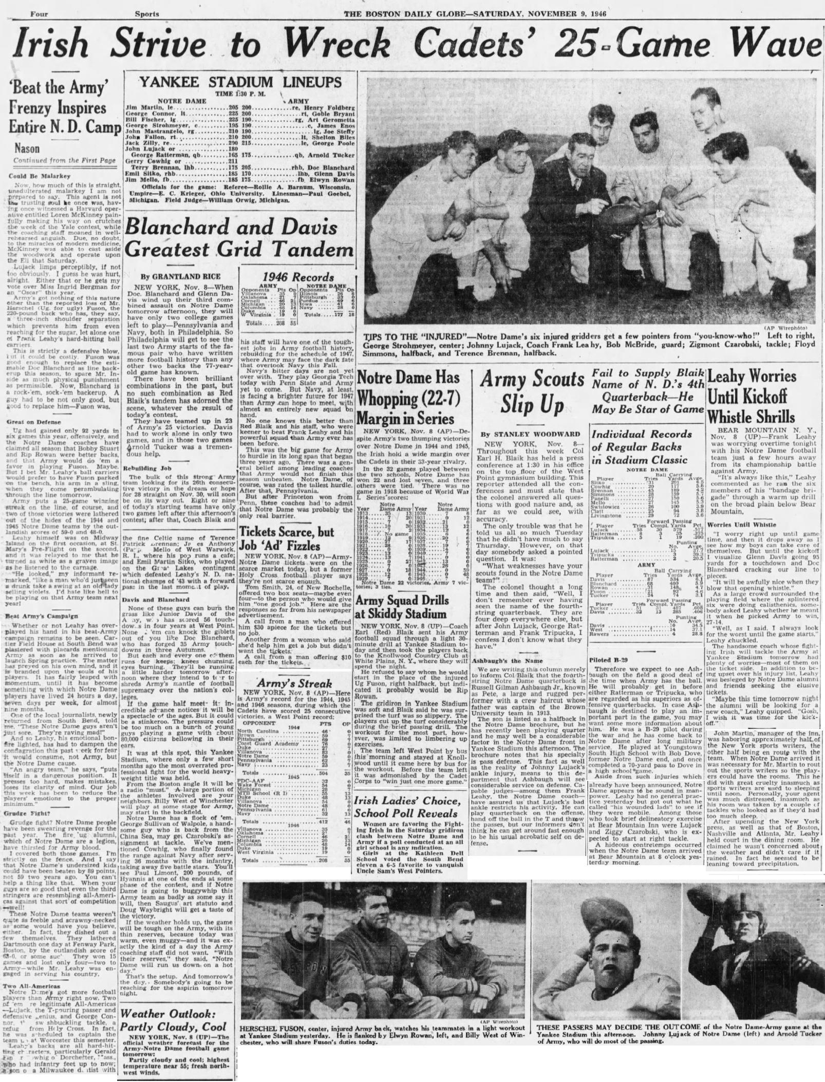 ArmyFB_1946_vsNotreDame_pre-game_BostonGlobe_Nov91946