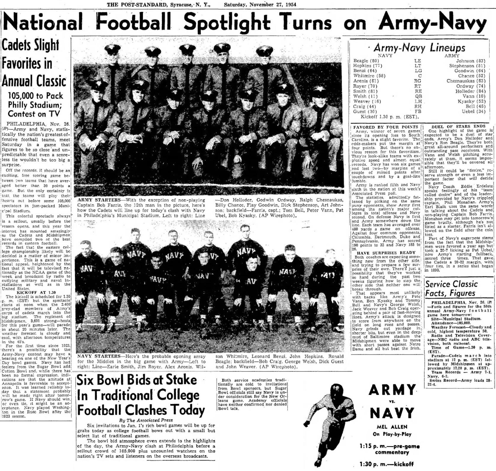 ArmyFB_1954_vsNavy_Starters_PostStandardSyracuseNY_Nov271954