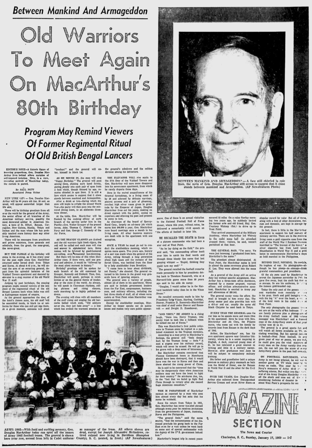 DouglasMacArthur_80thBirthday_NewsandCourier_Jan171960
