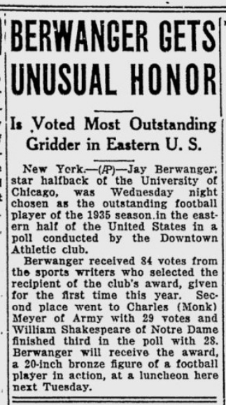 MonkMeyer-runnerupto-JayBerwanger_Heisman_1935_TelegraphHerald_Dec511935