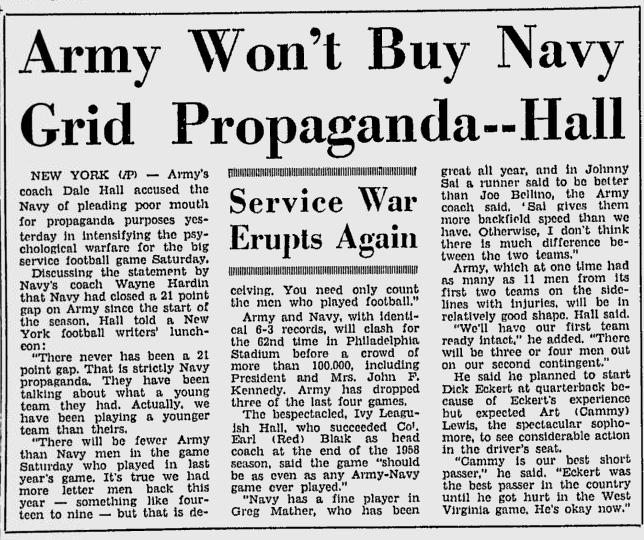 ArmyFB_1961_vsNavy-propaganda_DaytonaBeachMorningJournal_Nov281961