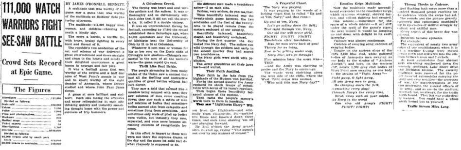 ArmyFB_1926_vsNavy-Bennett-article_ChicagoTribune_Nov291926