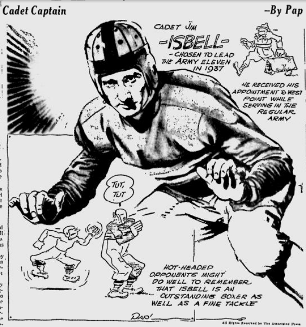 ArmyFB_1937_JimIsbell_byPap__SpokaneDailyChronicle_Dec71936