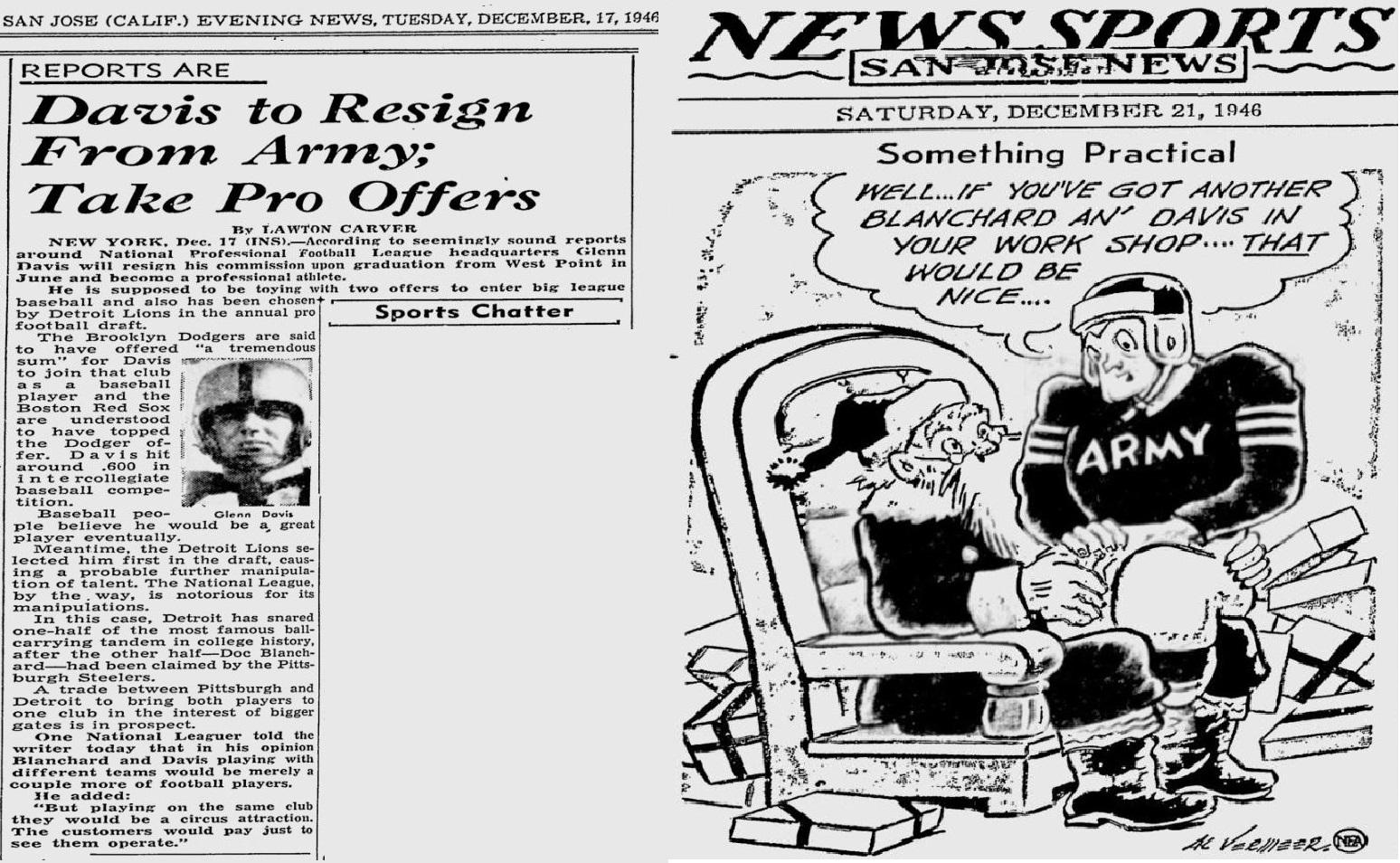 ArmyFB_1946_Davis-Pros_SanJoseEveningNews_Dec171946