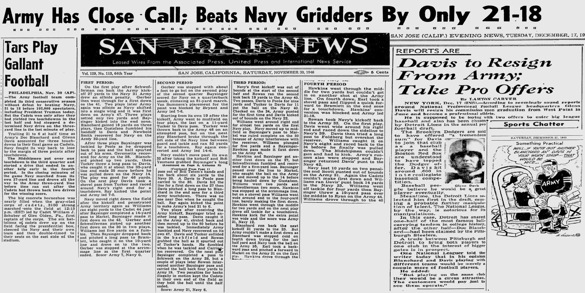 ArmyFB_1946_vsNavy_SanJoseEveningNews_Nov301946