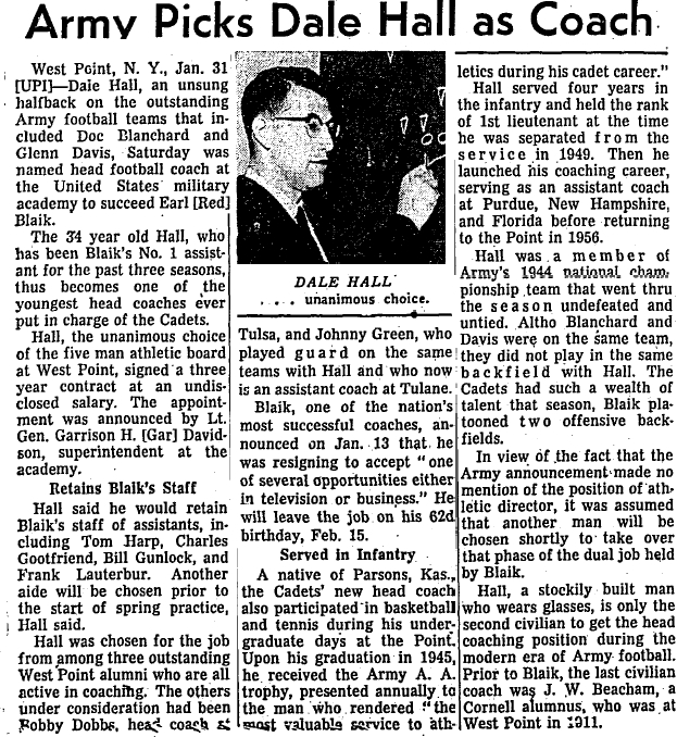 ArmyFB_1959_DaleHall_NewCoach_ChicagoTribune_Feb11959