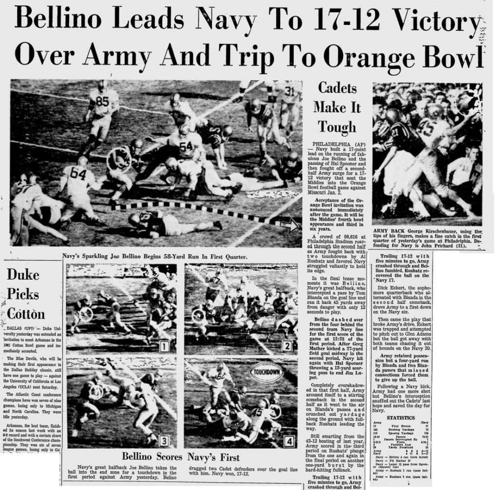 ArmyFb_1960_vsNavyandJoeBellino_MiamiNews_Nov271960