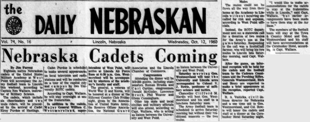 ArmyFB_1960_vsNebraska-pre_DailyNebraskan_12Oct1960