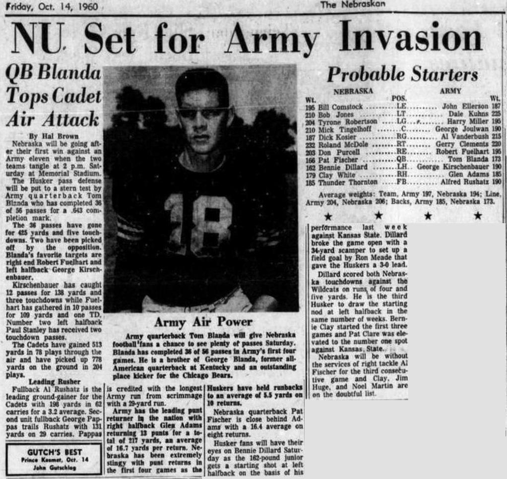 ArmyFB_1960_vsNebraska_DailyNebraskan_14Oct1960