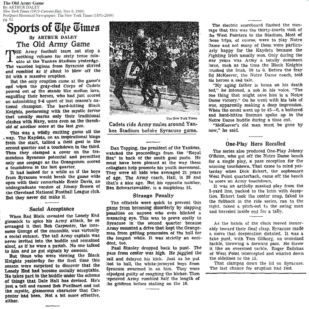 ArmyFB_1960_vsSyracuse_ArthurDaley_NYT_Nov61960
