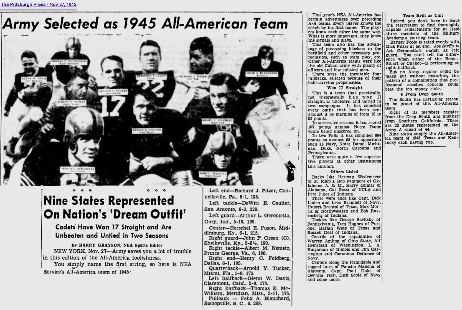 armyfb_1945_all-american_1945_nea_entirearmyfirstteam_pittsburghpress_nov271945