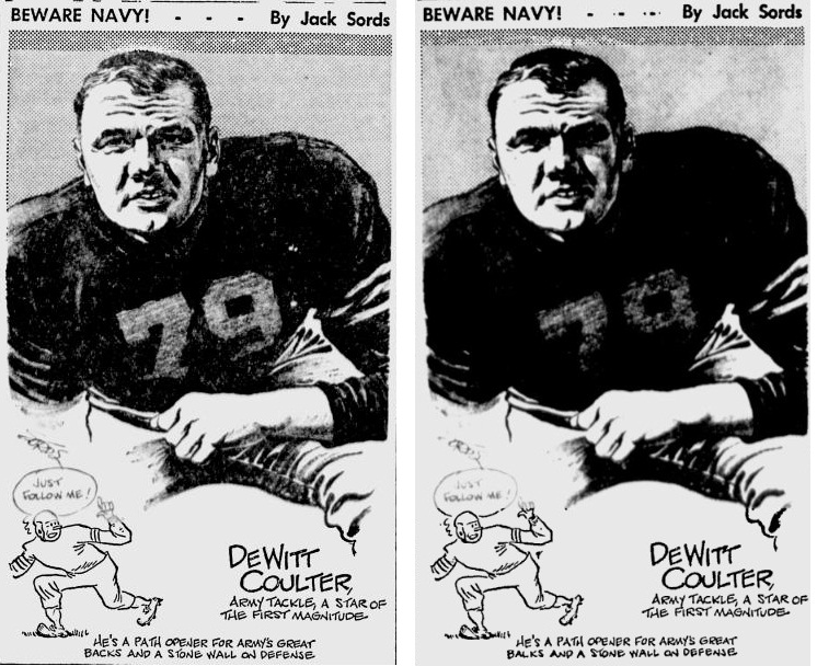 ArmyFB_1945_DewittCoulter_byJackSords_PainesvilleTelegraph_DailyTimesPa_Nov17-23-241945