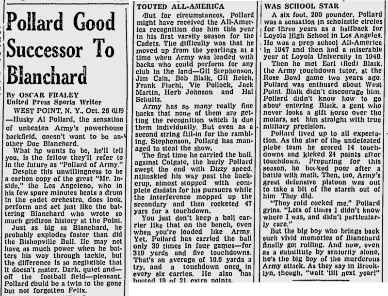 ArmyFB_1950_AlPollard_GreensburgDailyTribune_Oct261950