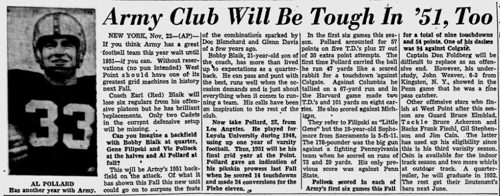 ArmyFB_1950_AlPollard_PortsmouthTimes_Nov231950