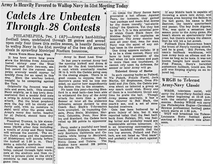 ArmyFB_1950_vsNavy-pre_SchenectadyGazette_Dec21950