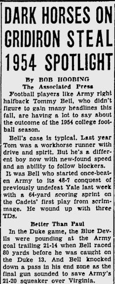 ArmyFB_1954_TommyBell_GettysburgTimes_Nov101954