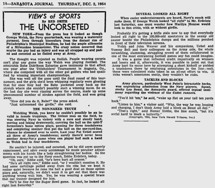 ArmyFB_1954_vsNavy_SarasotaJournal_Dec21954
