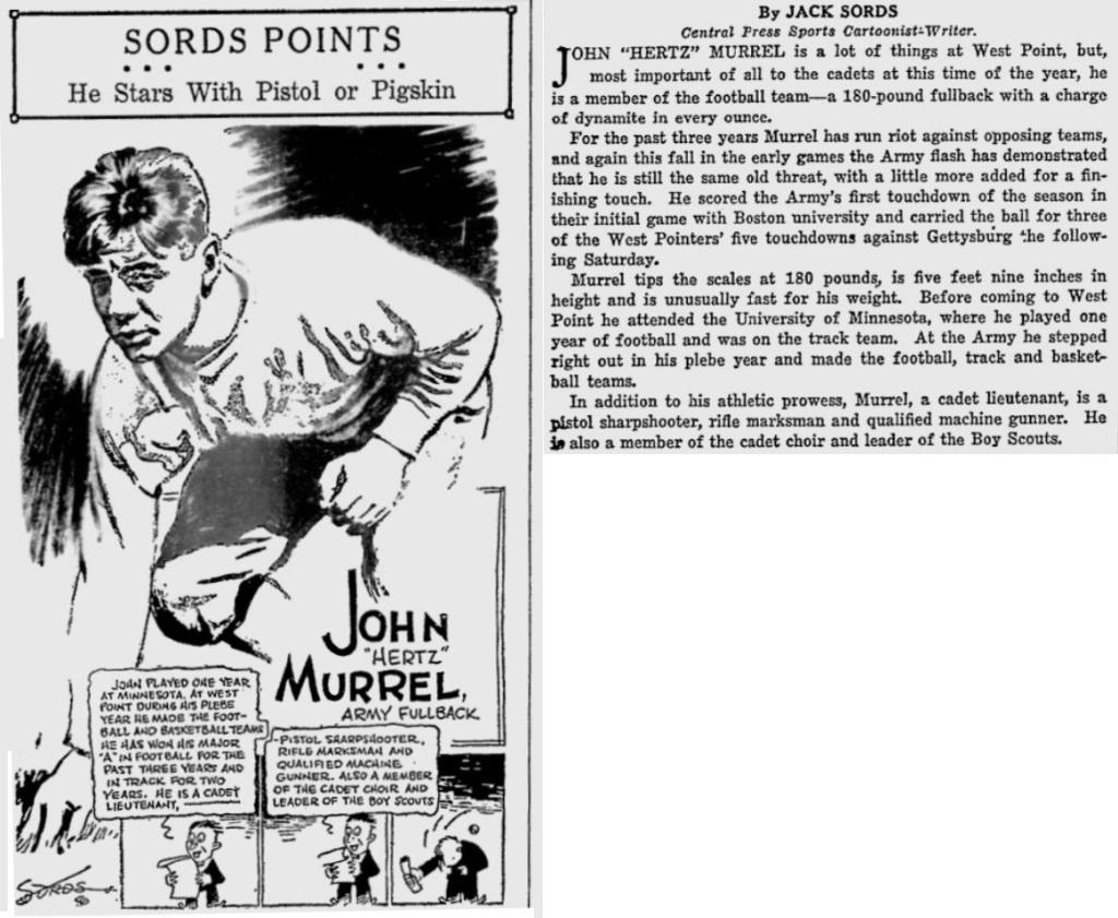 ArmyFB_1929_JohnMurrel_byJackSords_SarasotaHeraldTribune_Oct221929