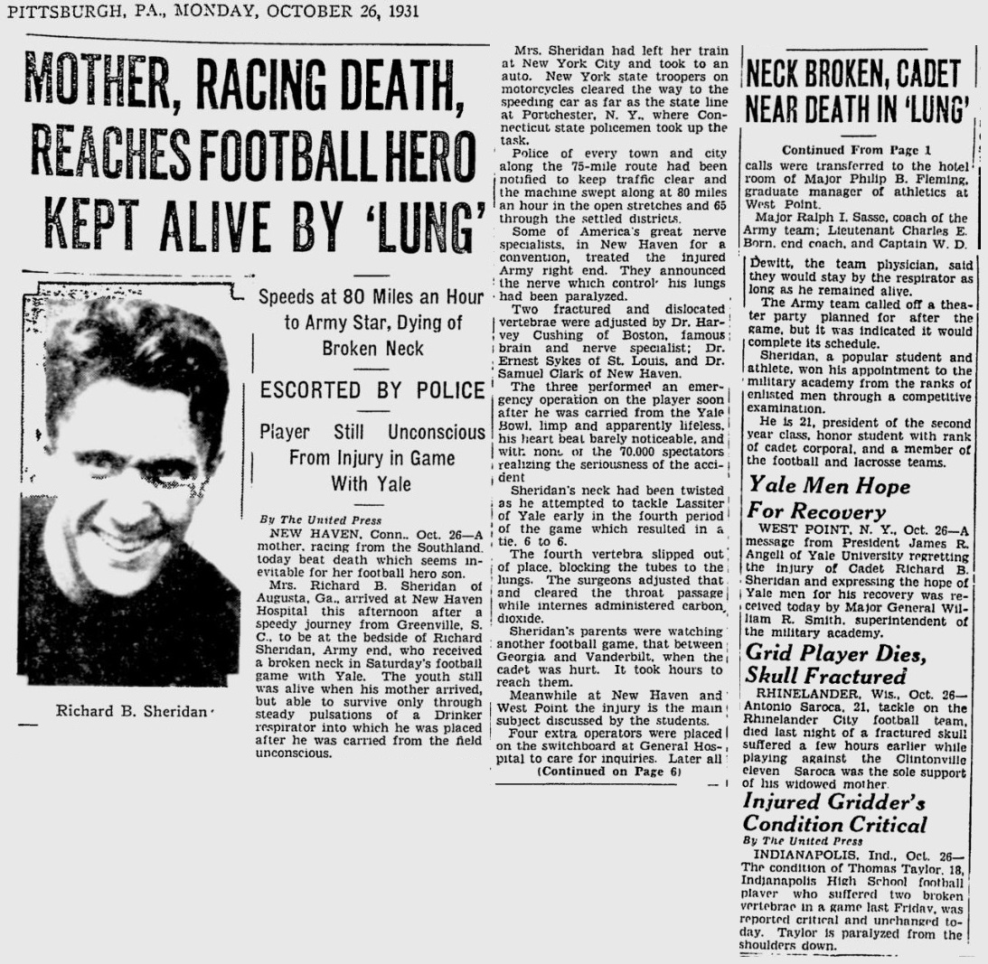 armyfb_1931_sheridandeath_mother_pittsburghpress_oct261931
