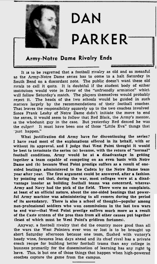 ArmyFB_1947_NotreDame-RivalryEnds_MontrealGazette_Nov71947