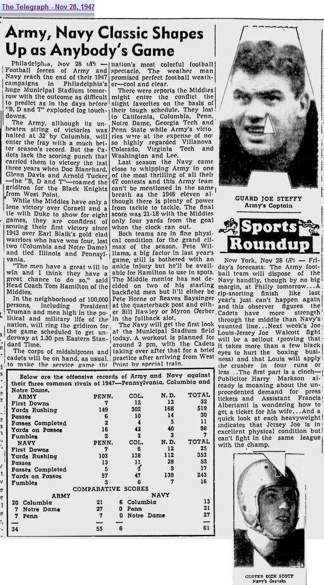 ArmyFB_1947_pre-vsNavy_TheTelegraph_Nov281947