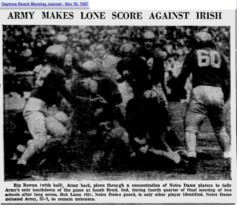 ArmyFB_1947_RipRowan-vsND_DaytonaBeachMorningJournal_Nov101947