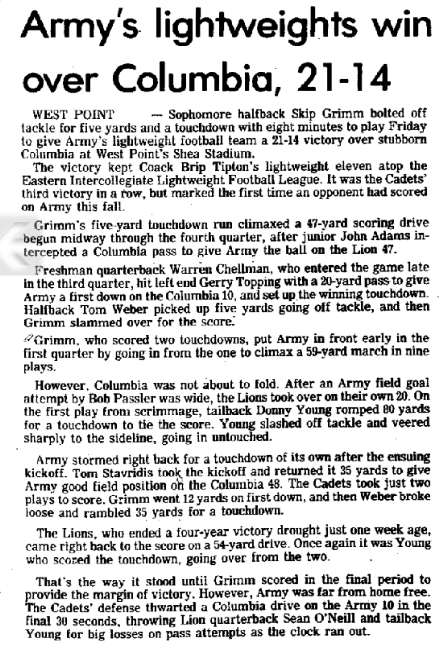 ArmyLFB_1973_102773_MiddletownTimesHeraldRecord_vsColumbia