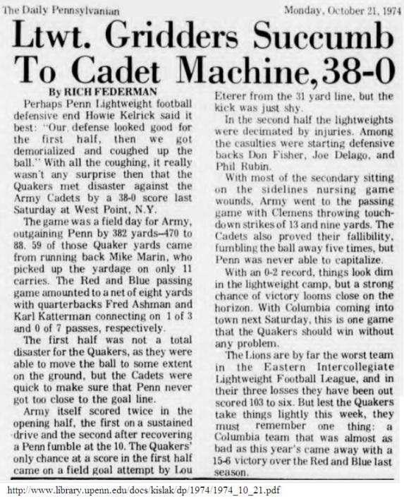 ArmyLFB_1974_vsPenn_DailyPenn_Oct211974