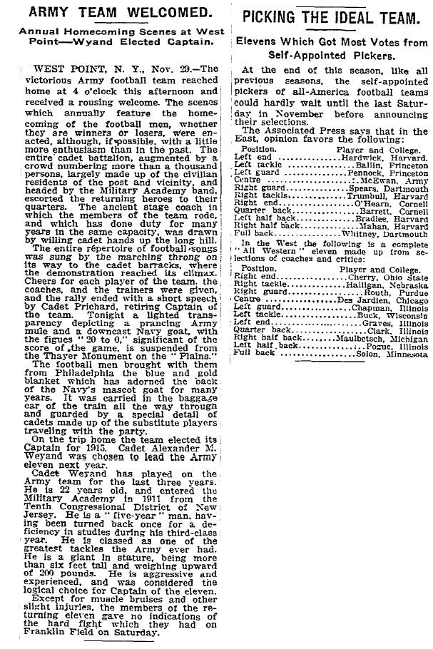 ArmyFB_1914_vsNavy_Victorious-return_NYT_Nov291914