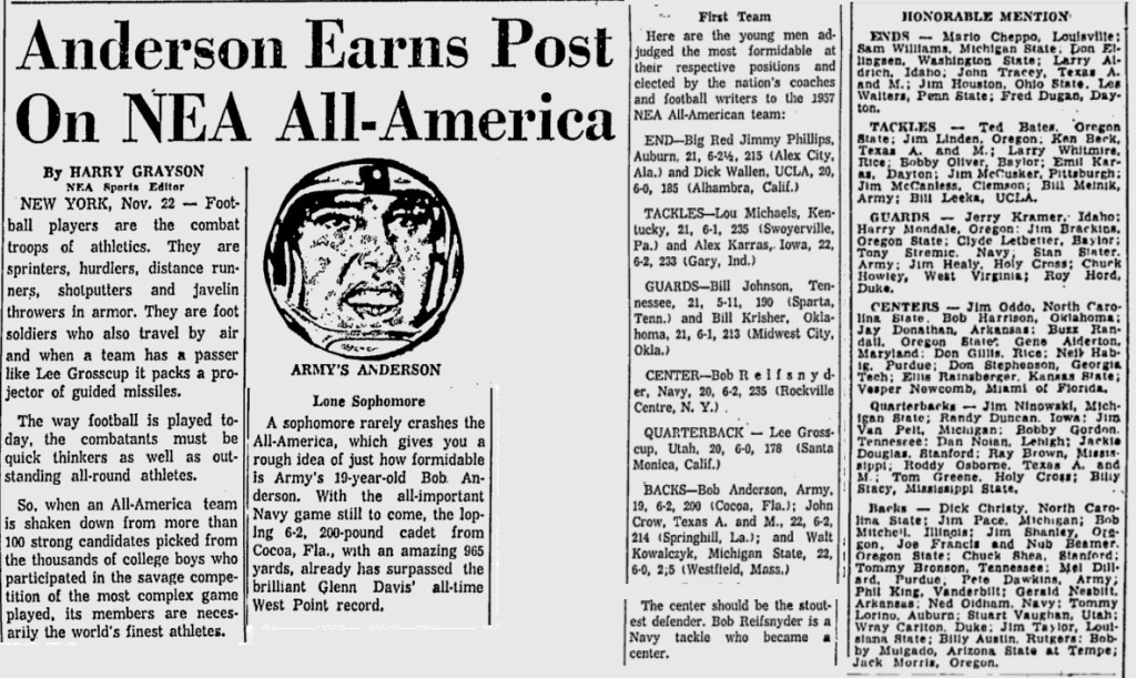 ArmyFB_1957_NEA-All-Americans_MiamiNews_Nov221957
