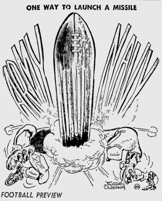 ArmyFB_1957_vsNavy-pre_byMurrayOlderman_TimesDaily-FlorenceAl_Nov271957