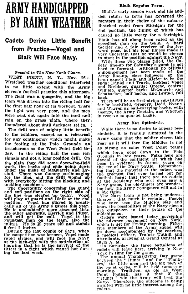 ArmyFB_1919_vsNavy-pre_Blaik-Vogel_NYT_Nov261919