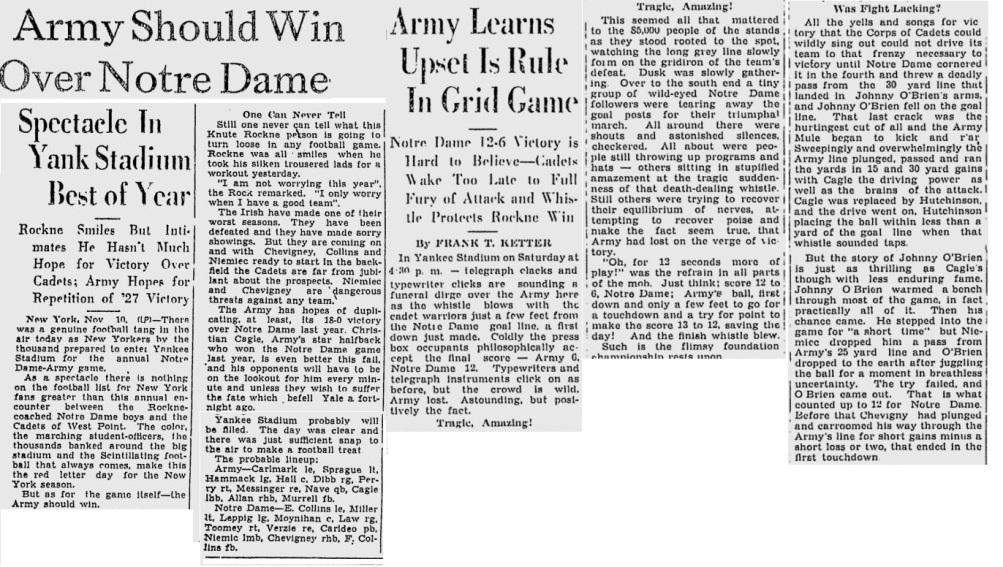 ArmyFB_1928_vsNotreDame_NewburghNews_Nov101928