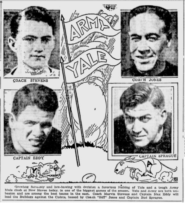 ArmyFB_1928_vsYale-CoachJones-CaptSprague_SchenectadyGazette_Oct271928