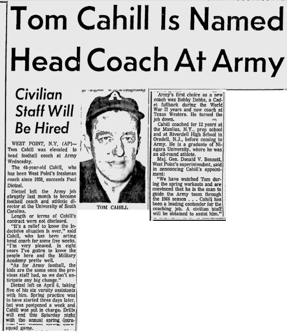 ArmyFB_1966_Cahill-hired_NewsandCourier_May121966
