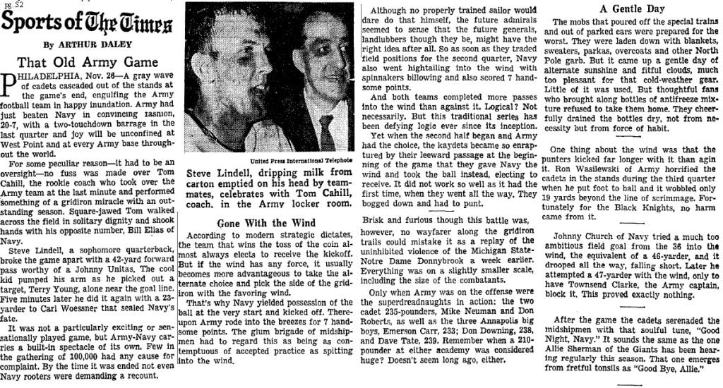 ArmyFB_1966_vsNavy_Cahill-Lindell_byArthurDaley_NYT_Nov271966