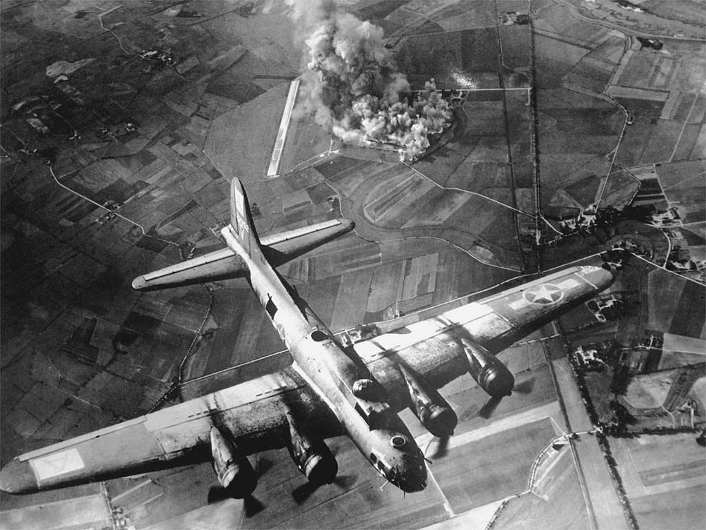 B - 17 Flying Fortress with a ruined bastion, 1944, Eastchurch, England