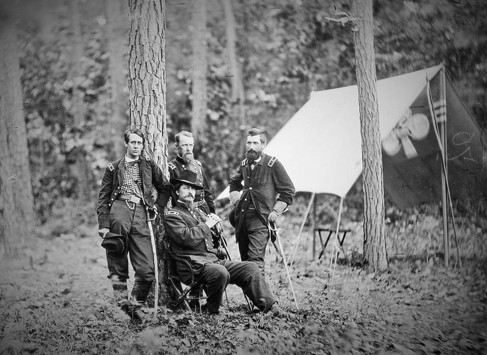 L-R  Barlow, Birney, Gibbon, Hancock seated - all wounded at Gettysburg.jpg