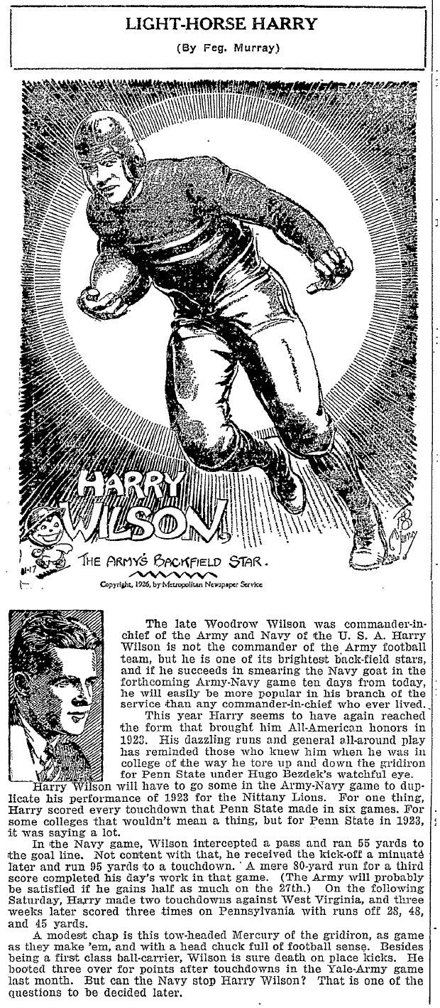 ArmyFB_1926_Light-HorseHarryWilson_byFegMurray_OgdensburgRepublican-Journal_Nov171926