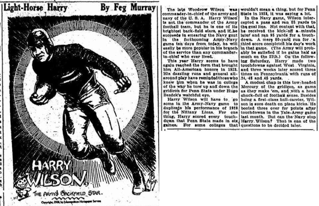 ArmyFB_1926_LightHorseHarryWilson_byFegMurray_AmsterdamEveningRecorder_Nov171926