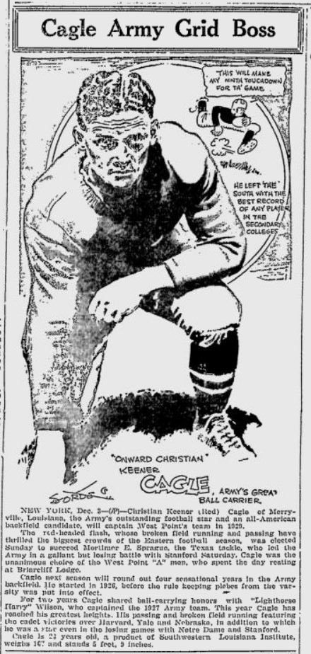 ArmyFB_1928_ChrisCagle_byJackSords_LewistonEveningJournal_Dec31928