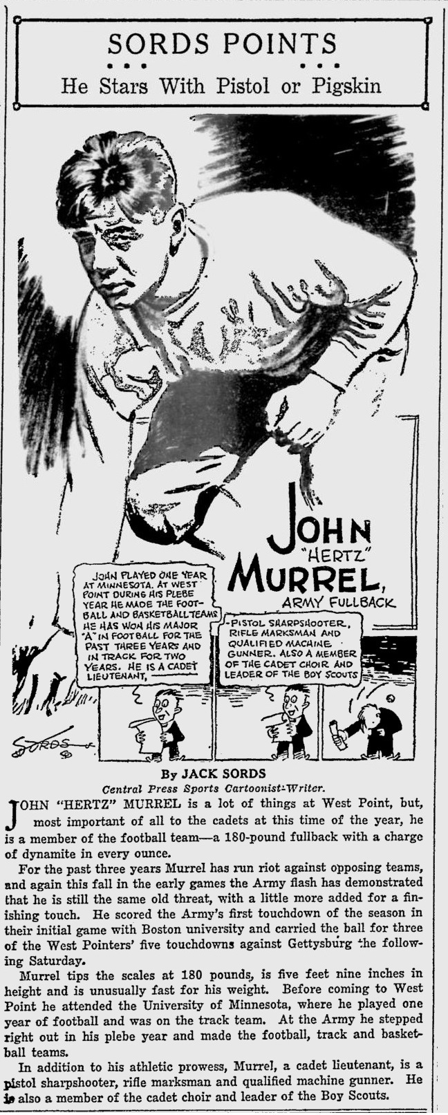 ArmyFB_1929_JohnMurrel_byJackSords_SarasotaHeraldTribune_Oct221929