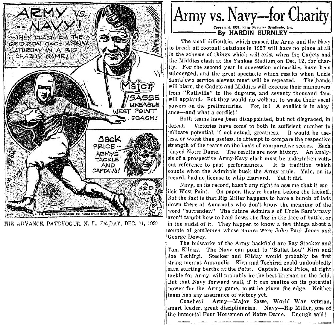 ArmyFB_1931_Army-Navy_byHardinBurnley_PatchogueNY-TheAdvance_Dec111931