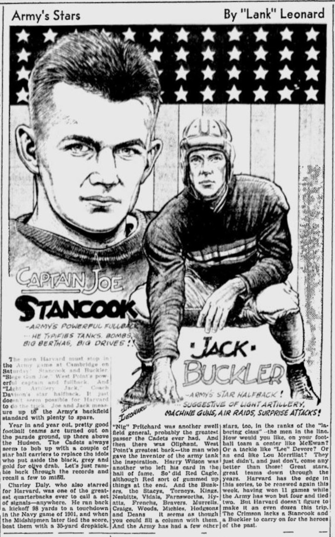 ArmyFB_1934_JoeStancook-JackBuckler_byLankLeonard_SchenectadyGazette_Nov61934