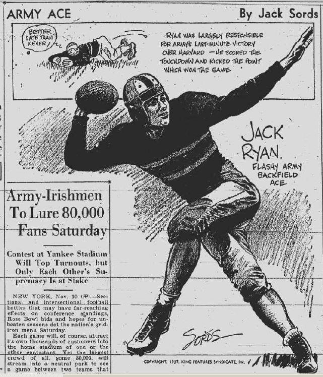 ArmyFB_1937_JackRyan_byJackSords_SchenectadyGazette_Nov111937
