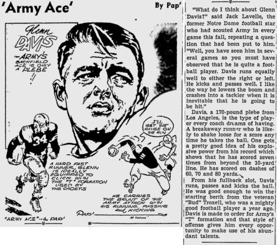 ArmyFB_1943_GlennDavis_byPap_Telegraph_Nov131943